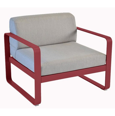 Fermob Bellevie Arm Chair with Chili Frame and Flannel Grey Cushion