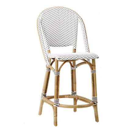 Sofie Bar Stool, White with Cappuccino Dots