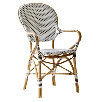 Isabell Arm Chair, white with Cappuccino dots