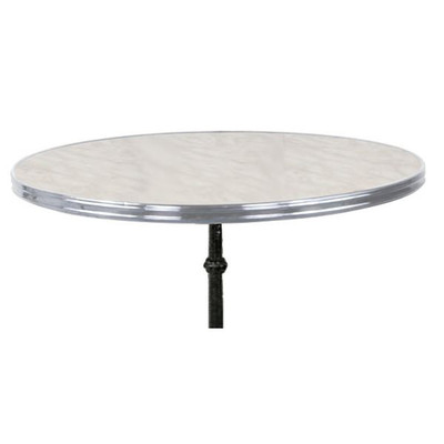 Traditional French Tabletop with White Marble top & chrome rim.