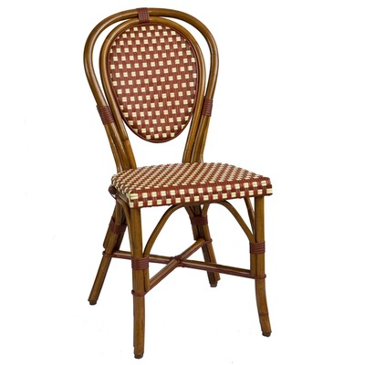Parisian Rattan Chair in square burgundy/cream matte weave with a honey frame.