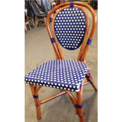 Parisian Rattan Chair in square blue/ivory matte weave with a honey frame.