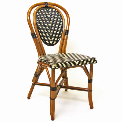 Parisian Rattan Chair in square black/ivory matte weave with a honey frame.
