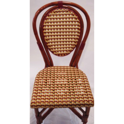 Parisian Rattan Chair in red/ivory/yellow glossy weave with a honey frame