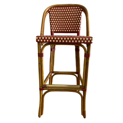 "St. Germain Rattan Bar Stool - 30""H Seat. Burgundy/Ivory"