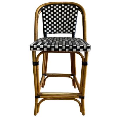 "St. Germain Rattan Counter Stool - 26""H Seat. SQ 3X3 Black/Ivory"