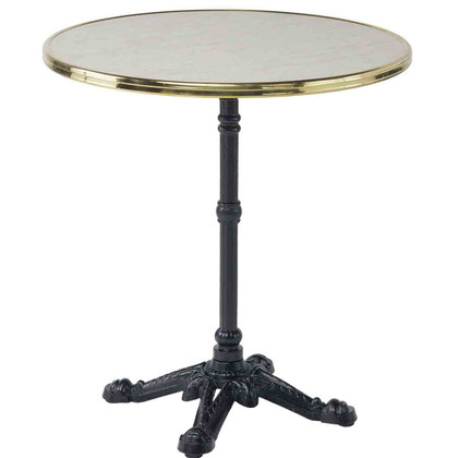 """28"""" table top in Genoa with brass rim"""