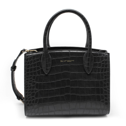 [SAINT SCOTT] Delia Croco Tote Bag - Black