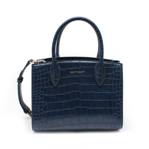 [SAINT SCOTT] Delia Croco Tote Bag - Navy