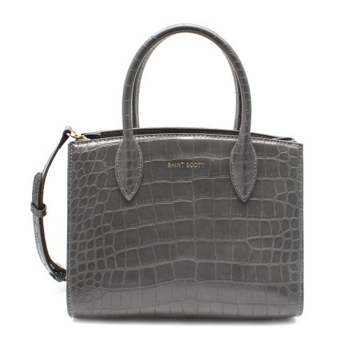 [SAINT SCOTT] Delia Croco Tote Bag - Gray