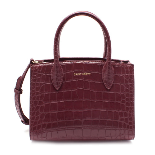 [SAINT SCOTT] Delia Croco Tote Bag - Burgundy