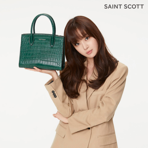 [SAINT SCOTT] Delia Croco Tote Bag - Green