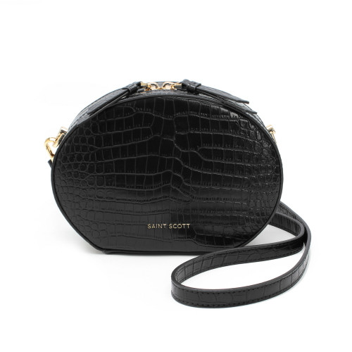 [SAINT SCOTT] Delia Croco Crossbag - Black