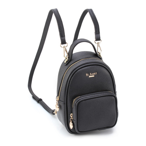 [SAINT SCOTT] Bertha Mini 2way Backpack  - Black