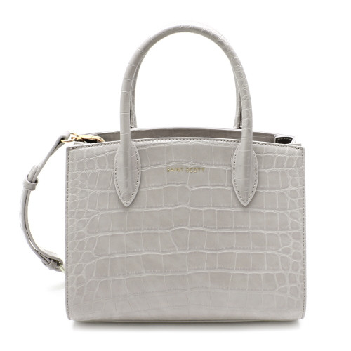 [SAINT SCOTT] Delia Croco Tote Bag - Cream Gray