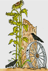Crow on Wagon Wheel