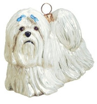 Maltese with Blue Bows Dog - Joy To The World Ornament