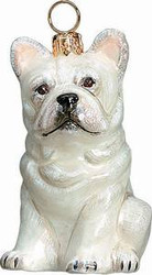 French Bulldog White - Joy To The World Ornament