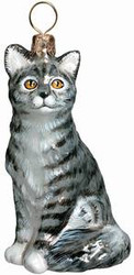 American Short Hair Gray Cat - Joy To The World Ornament