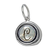Waxing Poetic Silver Charm Mother of Pearl 'T' Insignia