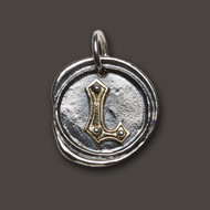 Waxing Poetic Silver Charm 'L' Rivet Insignia