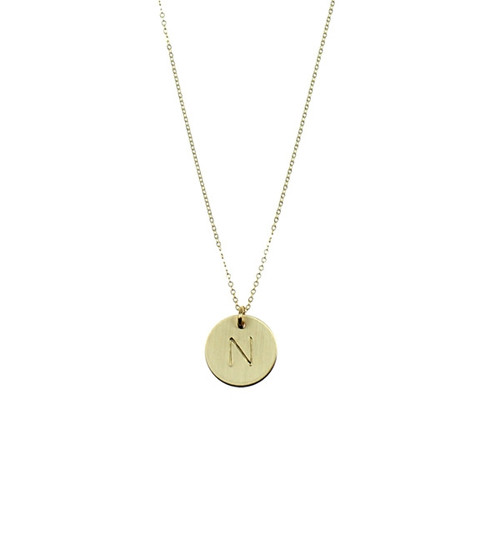 Nashelle Hand Stamped Gold ID 'Identity' Necklace 'V'