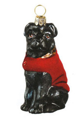 DIVA DOG Black Pug in Red Velvet Coat - Joy To The World Ornament