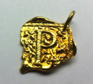 Waxing Poetic Gold Square Insignia Charm 'P'