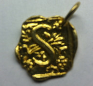 Waxing Poetic Gold Square Insignia Charm 'S'