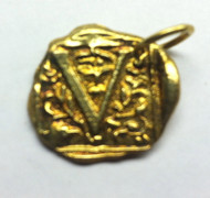 Waxing Poetic Gold Square Insignia Charm 'V'