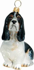 Basset Hound Sitting Dog - Joy To The World Ornament