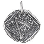 Waxing Poetic Sterling Silver Square Insignia Charm 'A'