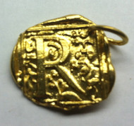 Waxing Poetic Gold Square Insignia Charm 'R'
