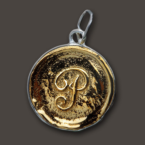 Waxing Poetic Brass Charm Round 'G' Insignia