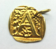 Waxing Poetic Gold Square Insignia Charm 'A'