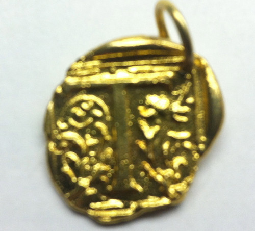 Waxing Poetic Gold Square Insignia Charm 'T'