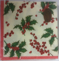 Caspari 'Holly and Berries' Ivory Napkin
