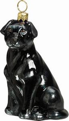 Labrador Black Dog - Joy To The World Ornament