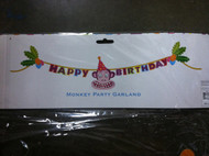 Glitterville Monkey In A Party Hat Happy Birthday Banner