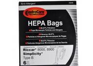 EnviroCare Simplicity Type B Riccar HEPA Vacuum Bags 6 Pack