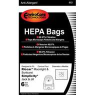 EnviroCare Simplicity Jack and Jill Riccar HEPA Vacuum Bags 6 Pack