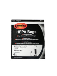 EnviroCare Riccar / Simplicity Type F HEPA Vacuum Bags Supralite / Freedom