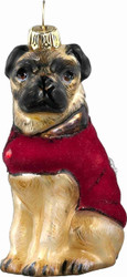 DIVA DOG Pug in Red Velvet Coat - Joy To The World Ornament