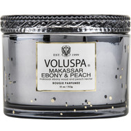 Voluspa Makassar Ebony and Peach  2 Wick Glass Candle
