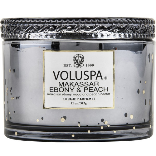 Voluspa Makassar Ebony and Peach  2 Wick Glass Candle