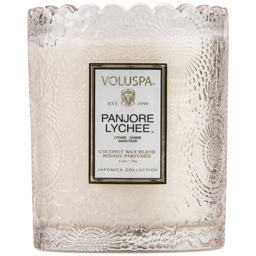 Voluspa Panjore Lychee Scalloped Edge Embossed Glass Candle