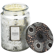 Voluspa Yashioka Gardenia Large Embossed Glass Jar Candle
