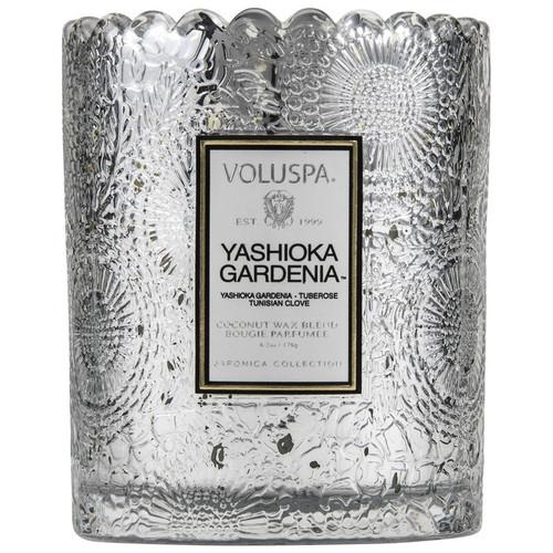 Voluspa Yashioka Gardenia Scalloped Edge Embossed Glass Candle