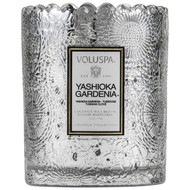 Voluspa Yashioka Gardenia Scalloped Edge Embossed Glass Candle