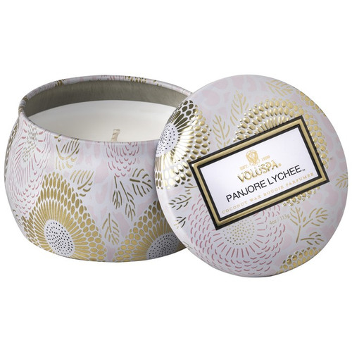 Voluspa Panjore Lychee Mini Decorative Tin Candle